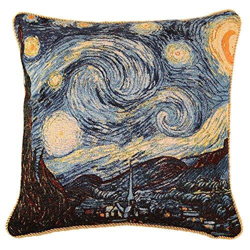 Signare Gobelin Arazzo copricuscini Divano, federe Cuscini Divano, Fodere Cuscini 45x45 cm Ispirato da von Gogh (The Starry Night)