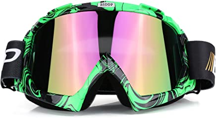 TOOGOO R Lunettes de ski Lentille unique motocross goggles lunettes de ATV cross-country dirt velo moto ski bleu