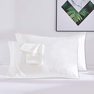 Dreaming Wapiti Pillow Cases, 100% Washed Microfiber Pillowcase King for Hair and Skin-2 Pack with Envelope Closure (White), Ivory