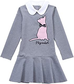 Girls Cartoon Cat Peter Pan Collar Twirling Princess Dress