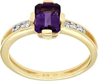 Yellow Gold 9k Octagon Amethyst 7x5mm And Round Diamond Promise Ring Size 6, 6.75, 7, 7.5 Contemporary Design For Women Fe...