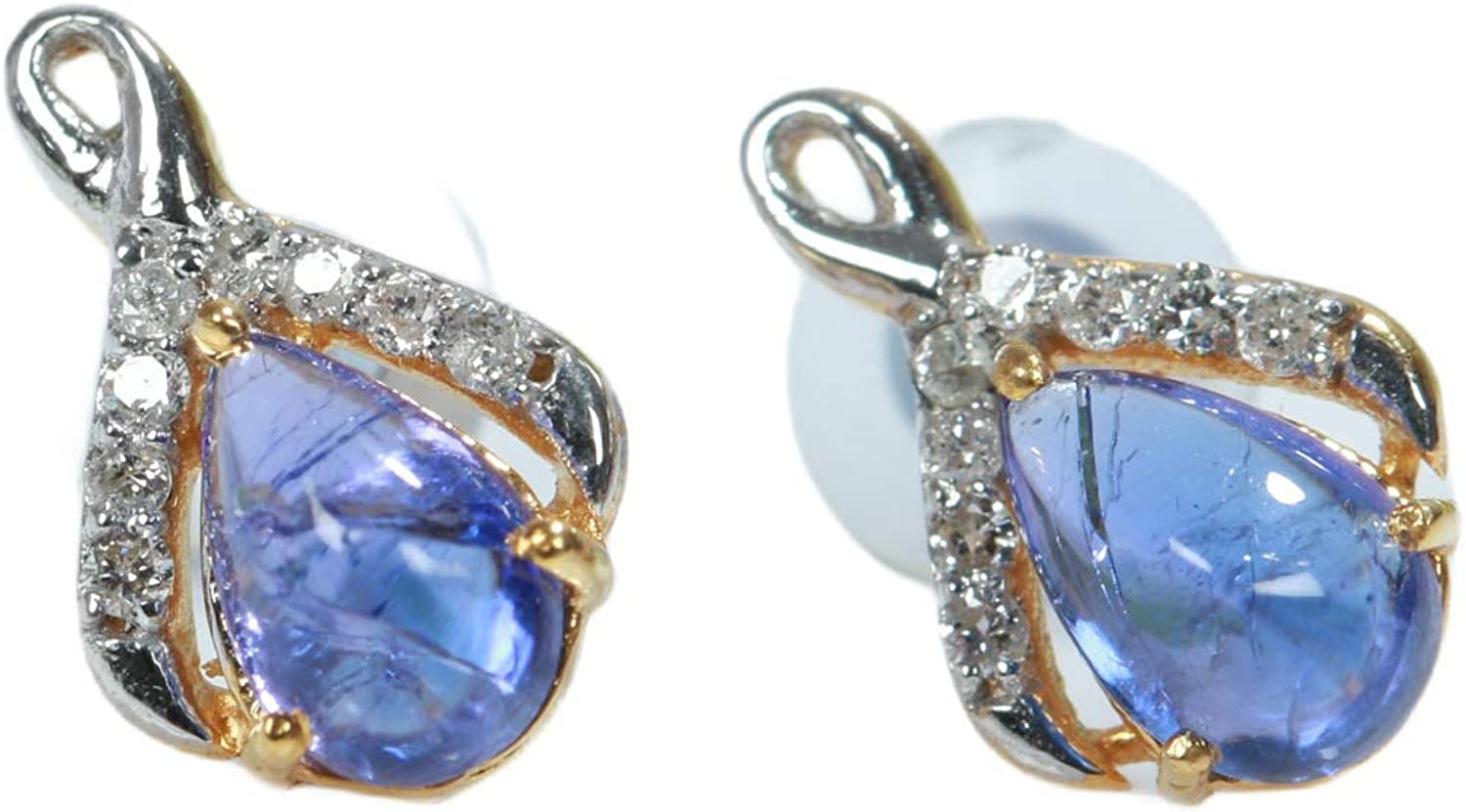 14k Gold Natural Tanzanite And Diamond Over Max 52% OFF item handling Earrings White Girl' Stud