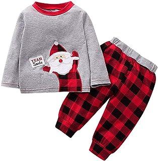 Ropa Bebé Niña Conjunto Niña Pantalon y Top para Fiesta - Recien Nacido Mamelucos de Manga Larga Impresión de Santa Claus Lindo Otoño Trajes de 2 Piezas