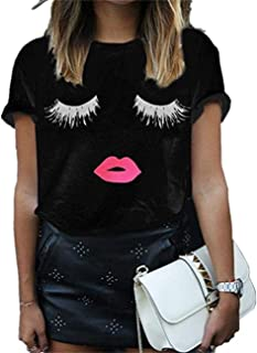 Women's Short Lips Print Causal Off The Shoulder Plus Size T-Shirt Tops