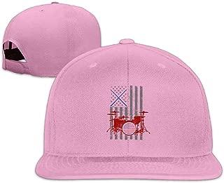 ZYXcustom Drummer American Flag Snapback Unisex Adjustable Flat Bill Visor Hip-Hop Hat