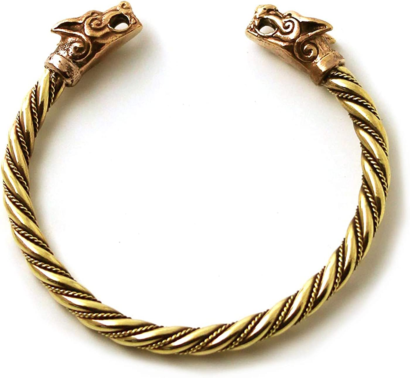 LynnAround Bronze Norse Viking Fenrir Wolf Head Twisted Cable Bangle Cuff Bracelet Arm Ring Pagan Jewelry