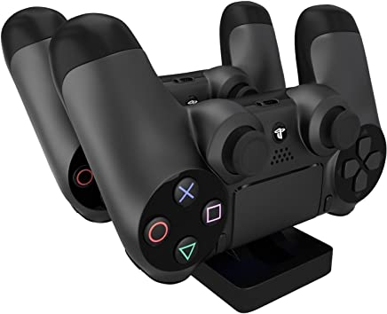 Megadream Dual Docking Station Stand Charger For Sony Playstation 4 Ps4, Ps4 Slim, Ps4 Pro Dualshock 4 Controller & Easy To Carry Black