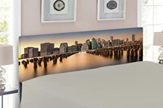 Lunarable New York Headboard, Long Exposure of The Manhattan Skyline and Brooklyn Pier Urban Modern Life in NYC, Upholstered Decorative Metal Headboard with Memory Foam, for Full Size Bed, Multicolor