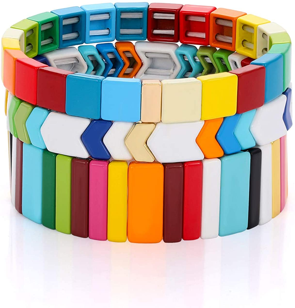 LENOOCLE Rainbow Enamel Tile Bracelet Colorful Enameled Beaded Stretch Bracelet Stackable Color-Block Strand Bracelet Set for Women Men