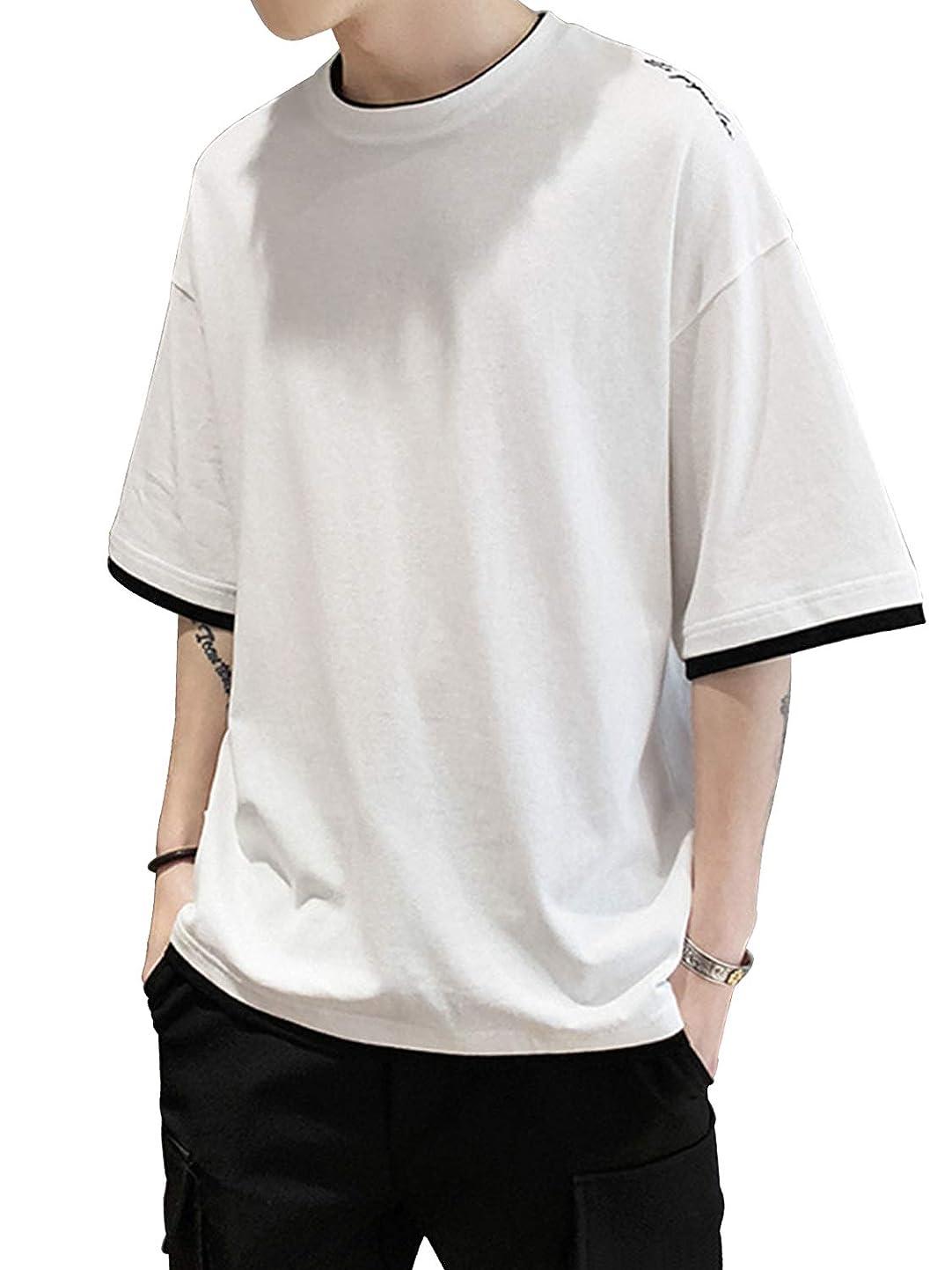 モス隙間予想するVINMORI (ヴィンモリ) Tシャツ メンズ 半袖 tシャツ 五分袖 七分袖 メンズ tシャツ スポーツ 吸汗速乾 汗染み防止 軽い 柔ら 快適な 丸首 かい ゆったりシャツ 夏服 伸縮性 涼しい カジュアル ファション 薄手