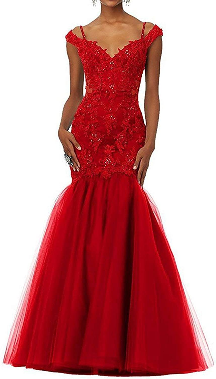 Fitty Lell Women's Mermaid Lace Evening Dress Off The Shoulder Prom Gowns