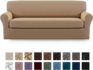 Easy-Going 2 Pieces Microfiber Stretch Sofa Slipcover – Spandex Soft Fitted Sofa Couch Cover, Washable Furniture Protector with Elastic Bottom Kids,Pet (Sofa,Camel)