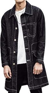 XINHEO Men Oversized Fold-Collar Rugged Wear Travel Safari Jean Coat