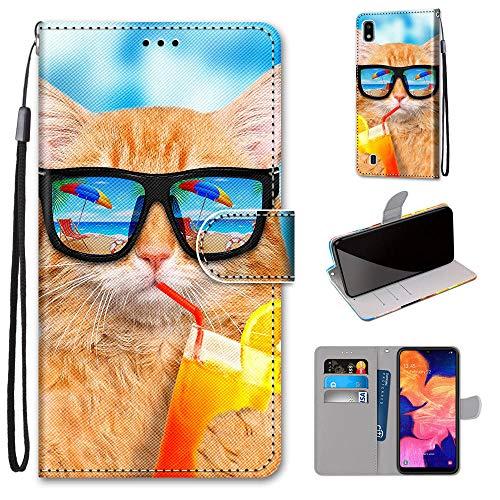 Miagon Flip PU Leder Schutzhülle für Samsung Galaxy A10,Bunt Muster Hülle Brieftasche Case Cover Ständer mit Kartenfächer Trageschlaufe,Limonade Katze