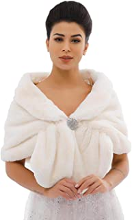 Zoestar Women's Faux Fur Shawls and Wraps Wedding Fur Stole Winter Fur Cape for Brides and Bridesmaids