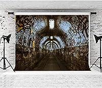 HiYash 9x6ft 落書き抽象的な通りの背景トンネル写真の背景レトロな背景の誕生日パーティー赤ちゃんの誕生日の装飾バナー美しい記憶のビニール素材で家の装飾
