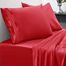 Sweet Home Collection 1800 Thread Count Bed Set Egyptian Quality Brushed Microfiber 3 Piece Deep Pocket Sheets Twin XL Red