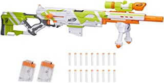 NERF Longstrike Modulus Toy Blaster with Barrel Extension, Bipod, Scopes, 18 Modulus Elite Darts & 3 Six-Dart Clips for Ki...