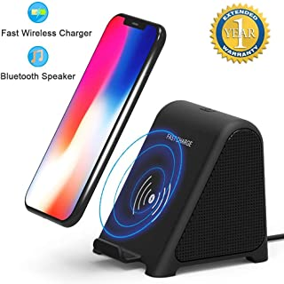 Bluetooth Speaker & Wireless Charger, 2 in 1 Home Audio Stereo Player & 10 W/7.5 W/5W Fast Wireless Charger Compatible for Samsung Galaxy S9,S9+,S8,S8+,S7 Edge, S6, Note 9 iPhone X/XS Max/XR/XS/8 Plus