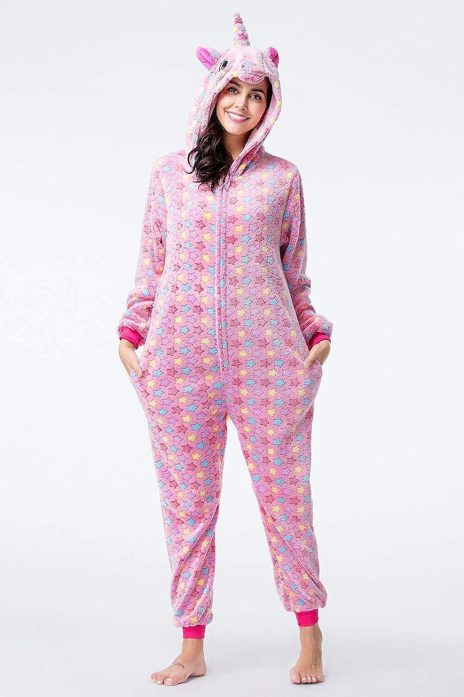 Unisexe Femmes /& Enfants Onesies Pyjamas Licorne Animal Polaire Doux Flanelle Maison Porter Une Pi/èce V/êtements De Nuit Cosplay Combinaison Parti Costume