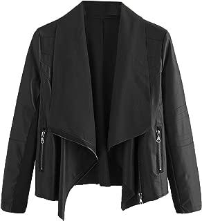Women's PU Leather Zipper Lapel Moto Biker Short Jacket