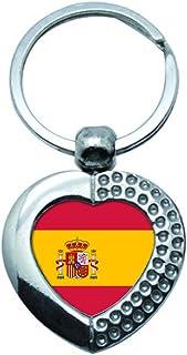 Flag of Espagne National Couleurs Chrome de Qualit/é Porte Cl/é Photo des Deux C/ôt/és