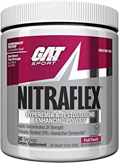 GAT - NITRAFLEX - Testosterone Boosting Powder, Increases Blood Flow, Boosts Strength and Energy, Improves Exercise Performance, Creatine-Free (Fruit Punch, 30 Servings)