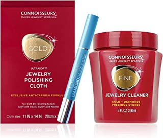 Connoisseurs Jewelry Cleaning Kit for Gold, Platinum, Diamonds & Precious Stones. Includes Dip-in Solution, Polishing Clot...