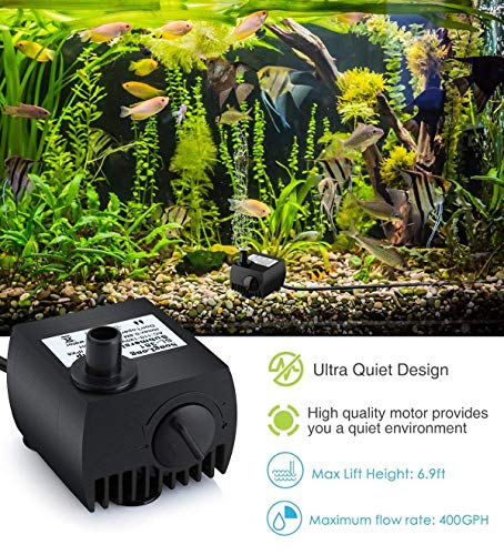 SeeKool Mini Bomba de Agua Ultra Silencioso 300L/H Submersible Pump 3W Circulation Pump con 2 Boquillas para Pecera…
