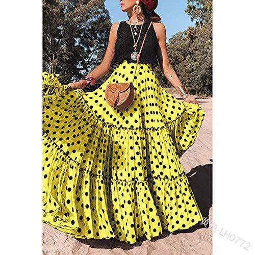 Rock Für Frauen,Vintage Maxirock Zigeunerkleid Lotusblatt Schwarze Punkte Gelbe Taille Elegantes Kleid Für Sommermädchen Damen Party Büro Strandhochzeit, XXL
