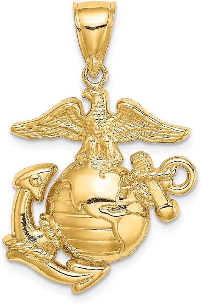 Yasmins Collection 14K Yellow Gold Med. Marine Corps Symbol 2D (Eagle Globe and Anchor) Usmc Pendant (0.91 x 0.98 inches)