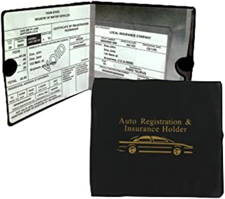Set of 4 Auto Car Registration Insurance Holder Wallet - Document Id Black Case for Car Truck Boat