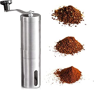 Manual Coffee Grinder, Stainless Steel Surface Design And Ceramic Burr Grinder, Portable For Home Office and Camping, Coffee, Tea, Herbs and Spices.
