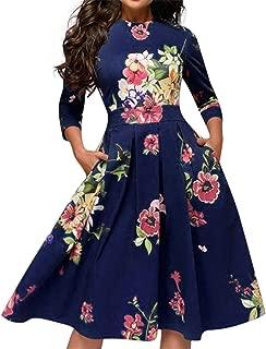 Londony ❤↪❤ Women's Floral Print Vintage Dress Elegant Midi Evening Dress 3/4 Sleeves Swing Vestidos Dress