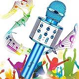 Microfono Karaoke Bluetooth, Buty 4 in 1 Wireless Bambini Karaoke, Portatile Karaoke Microfono con Altoparlante per Cantare, Funzione Eco, Compatibile con Android/iOS o Smartphone (Blu)