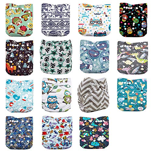 WO-WA Baby 15pcs Diapers+15pcs Charcoal Bamboo Inserts+One Wet Bag,Cloth Diapers,One Size Adjustable Reusable Pocket Cloth Diaper , (color2)