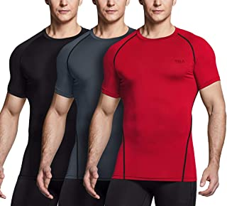 TSLA Men's (Pack of 1, 2, 3) Cool Dry Short Sleeve Compression Shirts, Athletic Workout Shirt, Active Sports Base Layer T-...