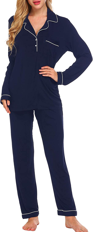 Ekouaer Women Pajamas Set Long Sleeve Tops with Pants Pockets PJ Set Pullover Sleepwear Set Soft Pj Lounge Sets S-XXL