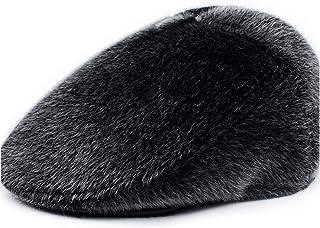2019 Women Winter Warm Ears Old Man Dad Men's Hat Thick Warm Beret Hat Classic Design Sun Hat Snapback Cap (Color : Black, Size : 58cm)