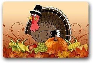 ZMvise Rubber Thanksgiving Turkey Welcome Door Mat Rug Indoor Outdoor Mats Welcome Doormat Decor Rug 18 x 30 inch