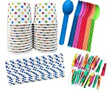 Ice Cream Sundae Kit - 12 Ounce Polka Dot Paper Treat Cups -Heavyweight Plastic Spoons - Paper...