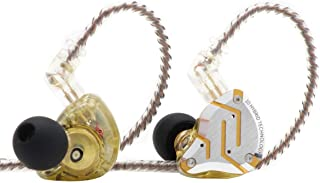 KZ ZS10 Pro, Linsoul 4BA+1DD 5 Driver in-Ear HiFi Metal Earphones with Stainless Steel Faceplate, 2 Pin Detachable Cable (Without Mic, Glare Yellow)