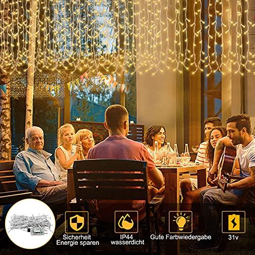 UISEBRT 5m LED Lichterkette Lichtervorhang für Außen Innen - 400 LEDs Warmweiß Eisregen Lichterkettenvorhang mit 8 Modi, IP44 Wasserfest für Weihnachten Halloween Party Garten (5m)