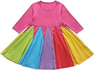 YOUNGER STAR Baby Girl Cotton Dress Clothes Toddler Girls Princess Long Sleeve Ruffle Tutu Rainbow Skirt