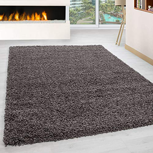 Carpet 1001 hoogpolig hoogpolig woonkamer shaggy tapijt poolhoogte 3 cm effen kleur taupe 300x400 cm taupe