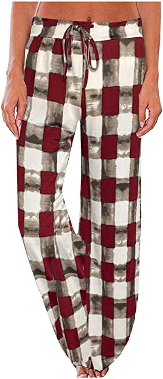 FUNEY Women's Casual Stretch Plaid Print Drawstring Pajama Pants Sleepwear Wide Leg Comfy Activewear Jogger Sweatpants