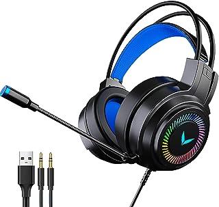 H HILABEE 3,5 mm spelheadset för PC, bärbar dator, dator spel gamer över örat flexibel mikrofon med mikrofon – svart
