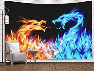 Asdecmoly DragonYinYangTapestry, Art Tapestry Living Room and Bedroom 60 Lx50 W Inches Abstract Blue Red Fiery Dragons Black Background Art Printing Inhouse