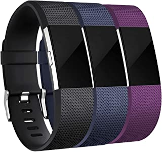 Maledan Bands Replacement Compatible with Fitbit Charge 2, 3 Pack, Black/Blue/Plum, Small
