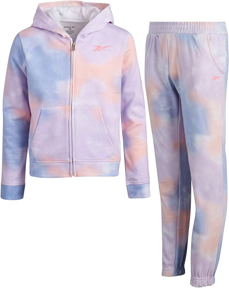 Girls' Athletic Jogger Set with Pullover Hoodie and Sweatpants (2 Piece), Size 6, Printed Tie-Dye/Blue